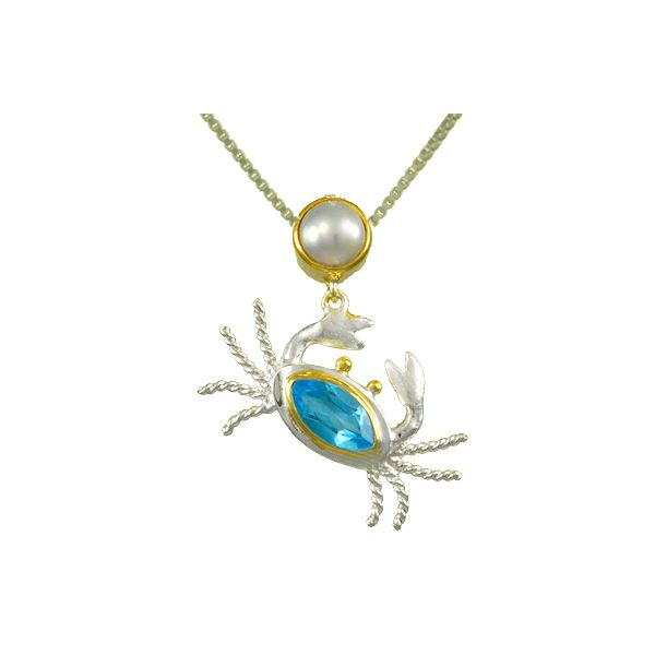 Michou Sterling Silver & 22K Vermeil with Baby Blue Topaz & White Freshwater Pearl Pendant on 18