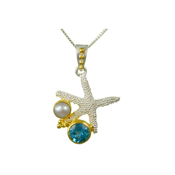 Michou Sterling Silver & 22K Vermeil Starfish with Sky Blue Topaz & White Freshwater Pearl Pendant on 18