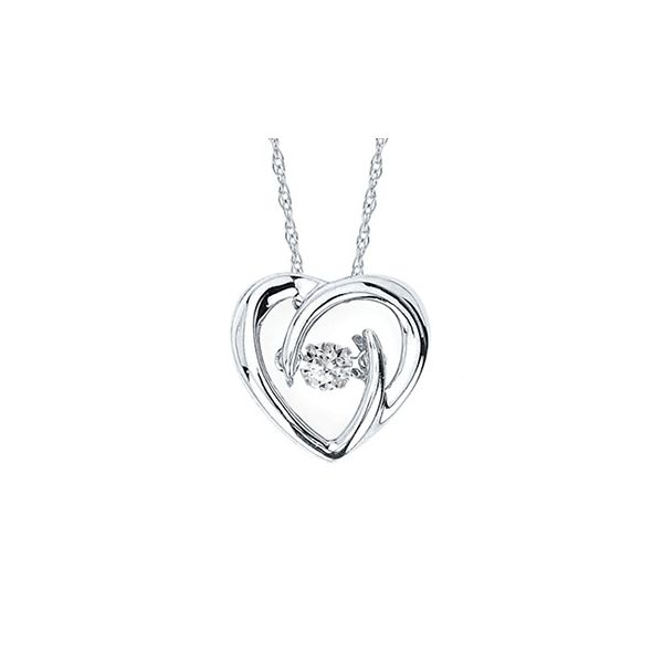 Sterling Silver Shimmering Diamond Heart Pendant .05 Tw Rd Diamond On 18