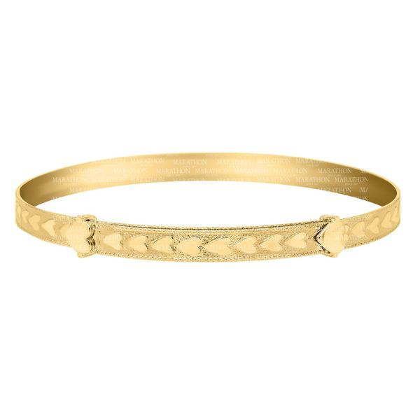 Gold Filled Adjustable Baby Bangle With Heart Design Swede's Jewelers East Windsor, CT