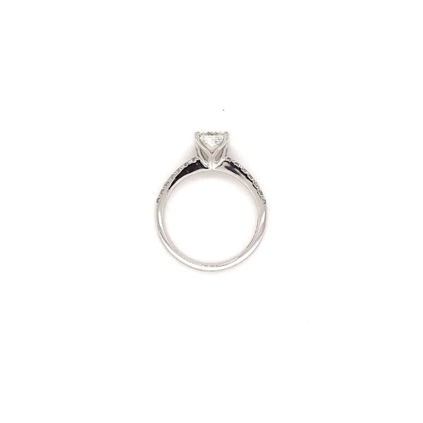 1.02 CT T.W PRINCESS CENTER DIAMOND 18KT WHITE GOLD WITH PALLADIUM ENGAGEMENT RING SIZE 6.5 Image 4 Taylors Jewellers Alliston, ON