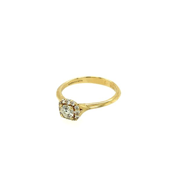 GABRIEL & CO ER911730R0Y44JJ.0001 14K YELLOW GOLD DIAMOND ENGAGEMENT RING CENTER ROUND BRILLIANT WITH CUSHION HALO  CENTER STONE Image 2 Taylors Jewellers Alliston, ON