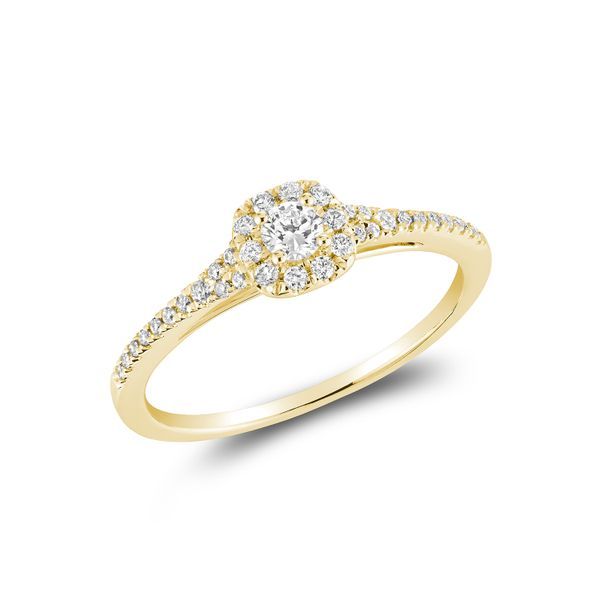 DIAMOND ENGAGEMENT RING WITH HALO 10KT YELLOW GOLD Taylors Jewellers Alliston, ON