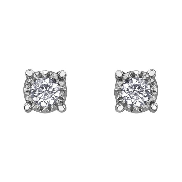 0.15CT T.W ILLUSION DIAMOND 10KT WHITE GOLD STUDS Taylors Jewellers Alliston, ON