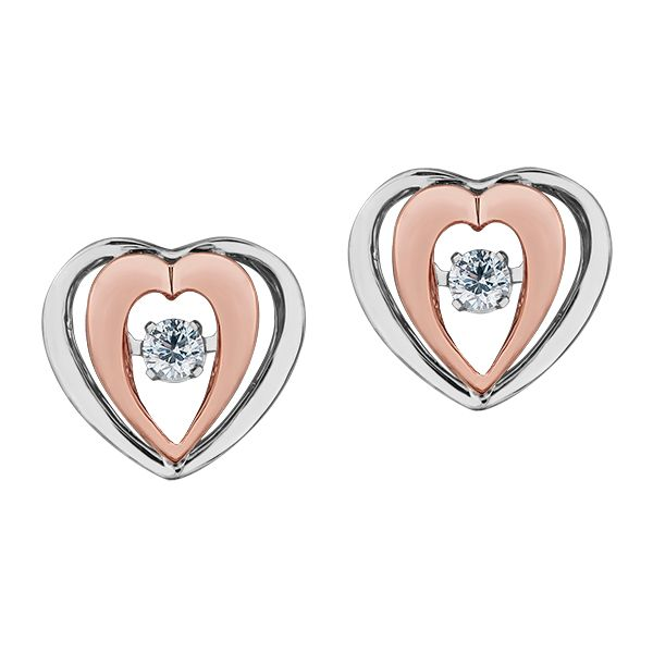 PULSE - BRING LOVE TO LIFE - HEART SHAPED DIAMOND EARRINGS 10KT WHITE/ROSE  0.10 TDW Taylors Jewellers Alliston, ON