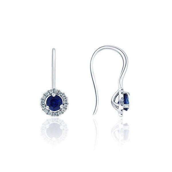 4MM SAPPHIRE EARRINGS  WITH 0.15CT T.W DIAMOND HALO 18KT WHITE GOLD Taylors Jewellers Alliston, ON