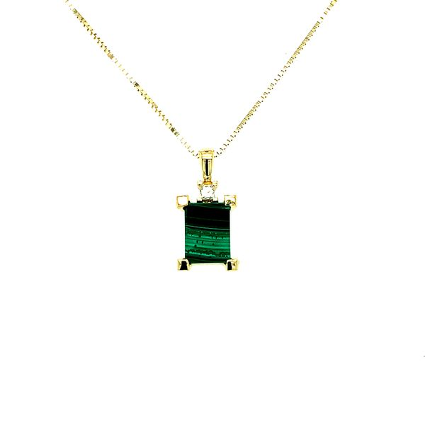 Maple Leaf Diamonds 10K Yellow Gold Malachite Pendant with Princess Cut Diamond .045CT Necklace Taylor's Jewellers Alliston, ON