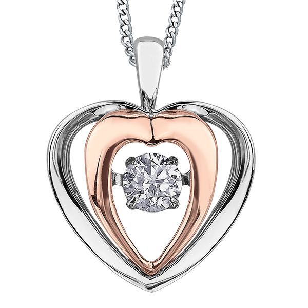 PULSE - BRING LOVE TO LIFE - DIAMOND NECKLACE HEART SHAPED  10KT WHITE/ROSE GOLD  0.09 CT Taylors Jewellers Alliston, ON