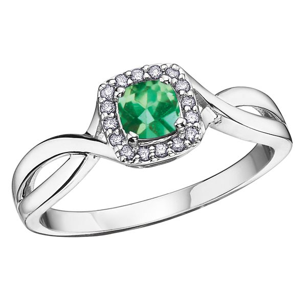 4MM EMERALD 10KT WHITE GOLD RING WITH DIAMONDS 0.07TDW Taylors Jewellers Alliston, ON