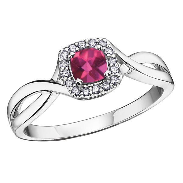 4MM RUBY 10KT WHITE GOLD RING WITH DIAMONDS 0.07TDW Taylors Jewellers Alliston, ON