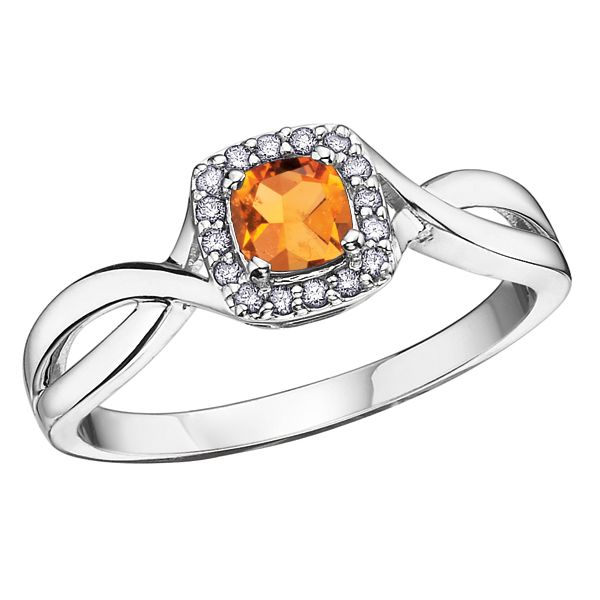 4MM ROUND CITRINE 10KT WHITE GOLD RING WITH DIAMONDS SIZE 6.5 Taylors Jewellers Alliston, ON