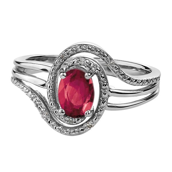 7X5MM RUBY WITH 0.02CT T.W DIAMONDS STERLING SILVER RING Taylors Jewellers Alliston, ON