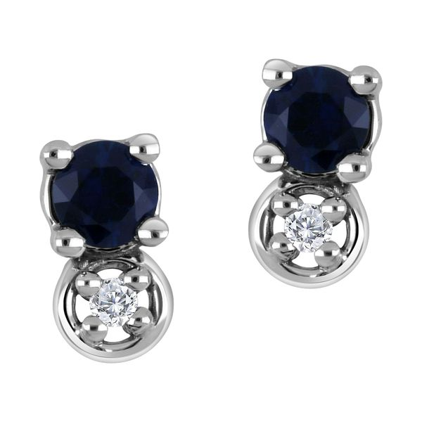 10K White Gold Blue Sapphire and Diamond Stud Earrings .01ct Taylors Jewellers Alliston, ON
