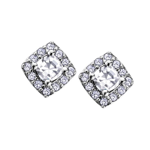 WHITE ZIRCON BIRTHSTONE COLLECTION WITH DIAMOND HALO 10KT WHITE GOLD STUD EARRINGS Taylor's Jewellers Alliston, ON