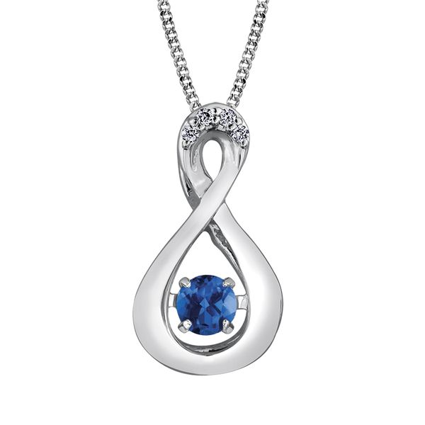 3.00MM ROUND BLUE SAPPHIRE WITH DIAMONDS INFINITY 10KT WHITE GOLD