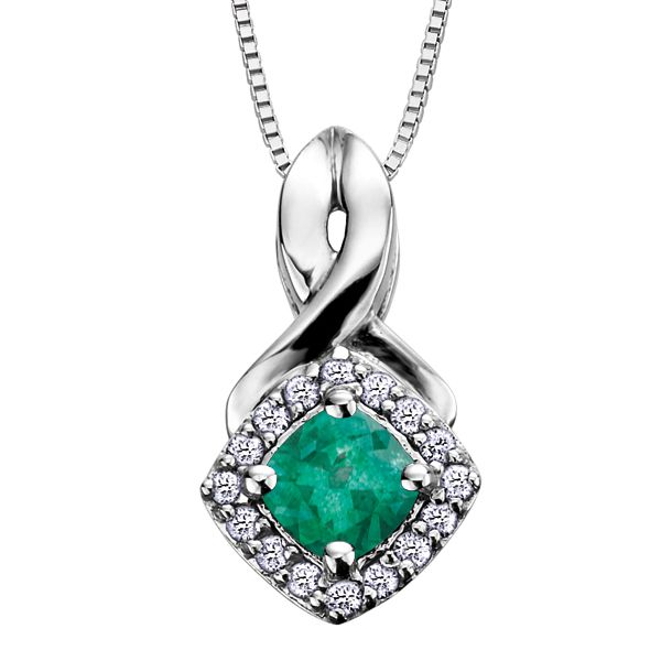 4MM EMERALD AND 0.08CT T.W DIAMOND 10KT WHITE GOLD HALO PENDANT Taylors Jewellers Alliston, ON