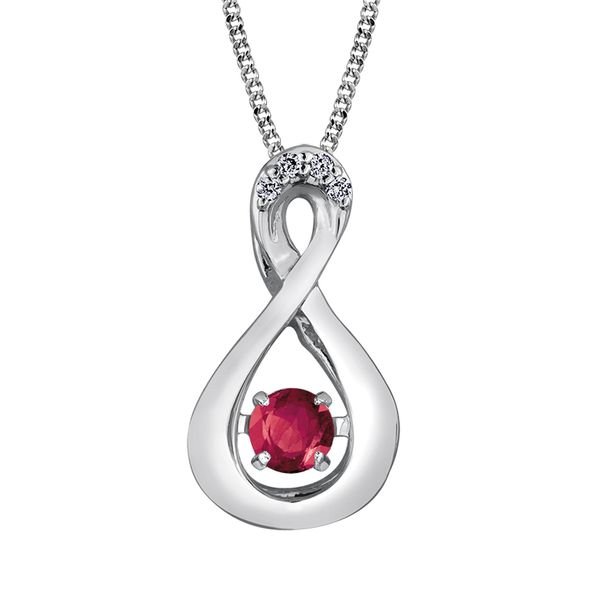 3.00MM ROUND RUBY WITH DIAMONDS INFINITY 10KT WHITE GOLD