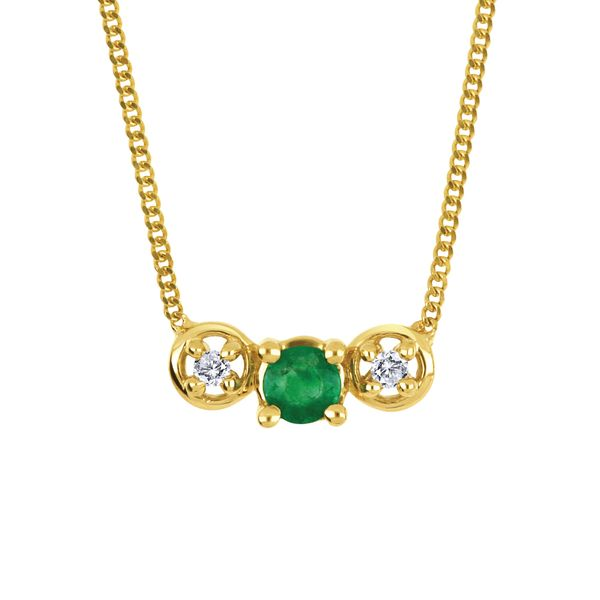10K Yellow Gold Emerald and Diamond Necklace .01ct Taylors Jewellers Alliston, ON