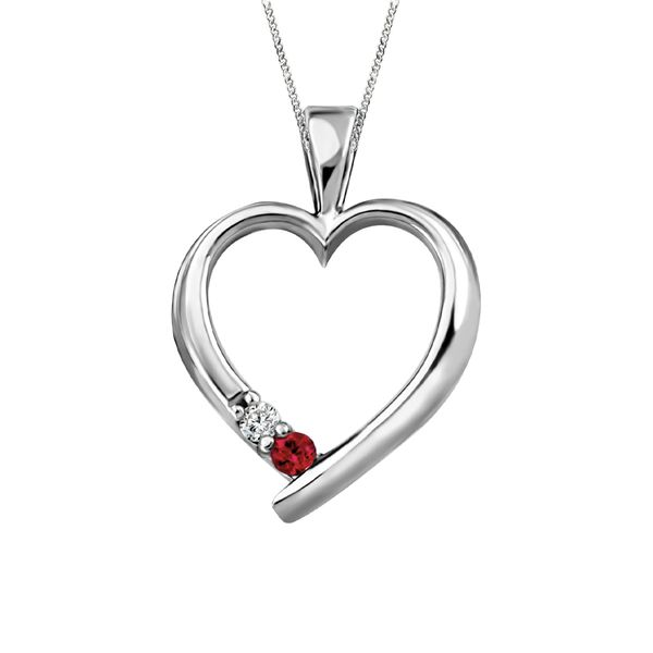 Lady's White Polished 10 Karat Heart Pendants Length 18 With One 0.02Ct Round Diamond And One 3.00Mm Round Ruby Taylors Jewellers Alliston, ON