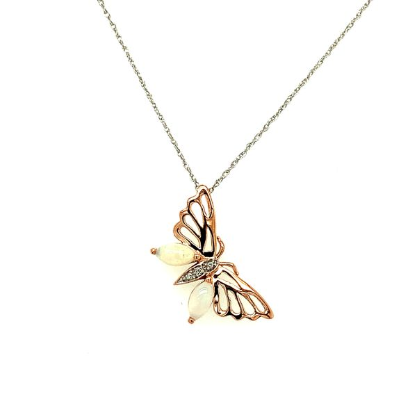10K Rose and White Gold Butterfly Pendant with Opals and Diamond 0.01TDW Necklace Taylor's Jewellers Alliston, ON