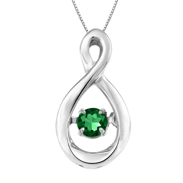 Emerald Infinity Dazzling Silver Pendant 18