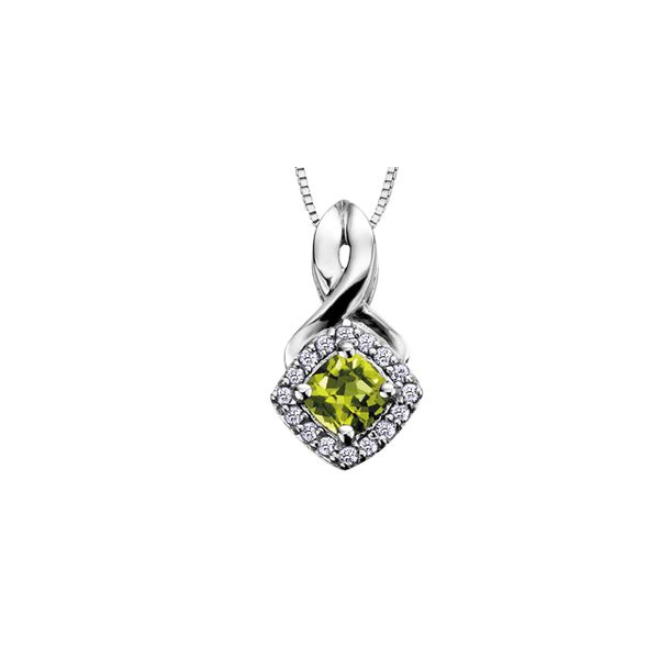 4MM PERIDOT AND 0.08CT T.W DIAMOND 10KT WHITE GOLD HALO PENDANT Taylors Jewellers Alliston, ON
