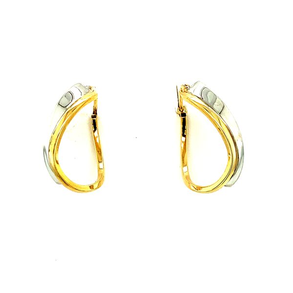 10KT Two-Tone Yellow & White Gold Hoop Earrings Taylor's Jewellers Alliston, ON