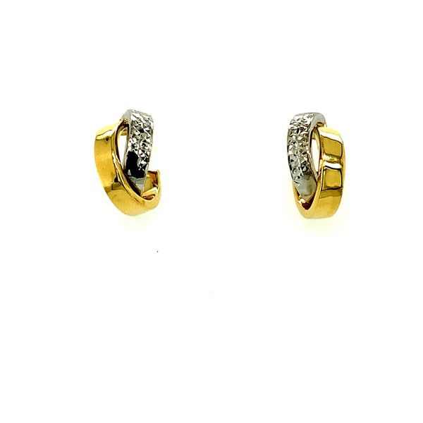 10KT YELLOW AND WHITE GOLD DOUBLE HOOP EARRINGS Taylors Jewellers Alliston, ON