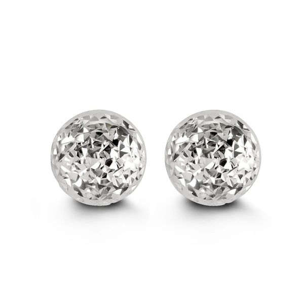 10KT WHITE GOLD 10MM DIAMOND CUT BALL STUD EARRING Taylors Jewellers Alliston, ON