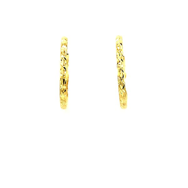 19MM 10KT YELLOW GOLD DIAMOND CUT HOOP EARRINGS Image 2 Taylors Jewellers Alliston, ON