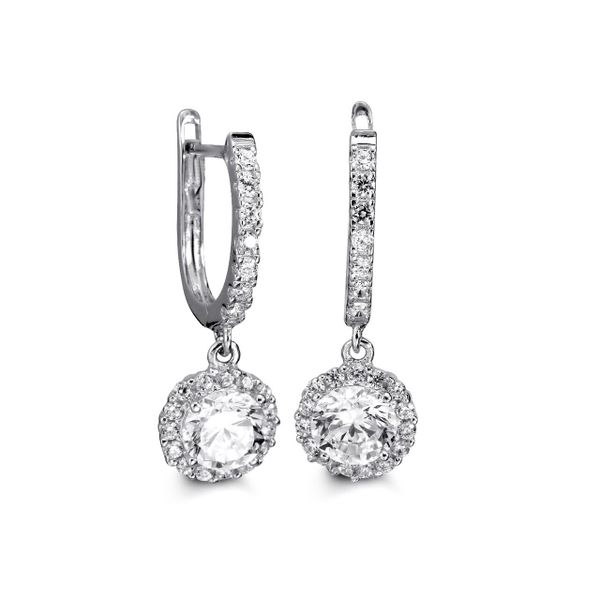 LUX 10KT WHITE GOLD WITH CUBIC ZIRCONIA DANGLE EARRINGS Taylors Jewellers Alliston, ON