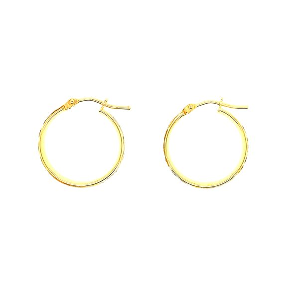 10KT Two Tone Yellow & White Gold Diamond Cut Shiny Bella Hoop Earrings Image 2 Taylors Jewellers Alliston, ON
