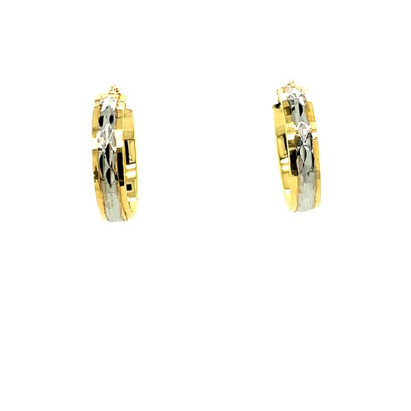 10KT Two Tone Yellow & White Gold Diamond Cut Shiny Bella Hoop Earrings Taylors Jewellers Alliston, ON