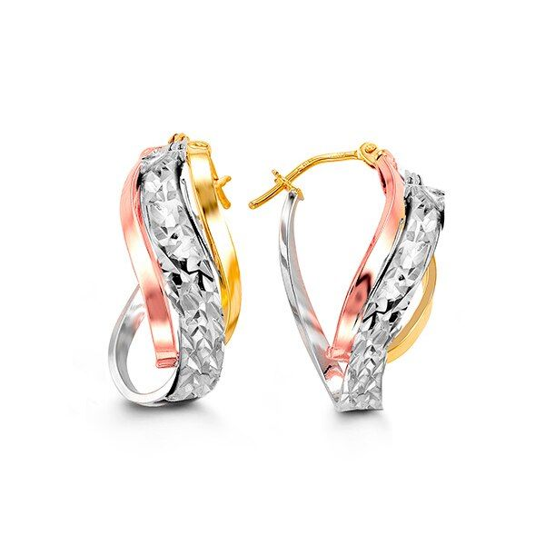10KT GOLD TRI-COLOUR EARRINGS Taylors Jewellers Alliston, ON