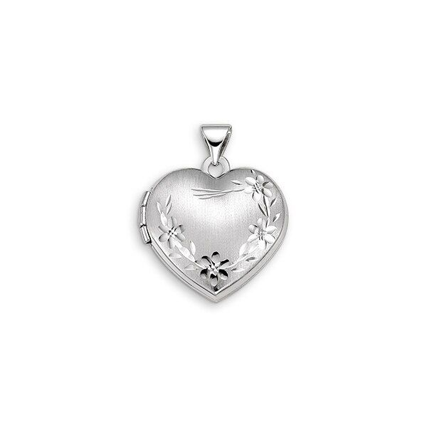 10KT WHITE  GOLD FLOWER HEART LOCKET Taylors Jewellers Alliston, ON