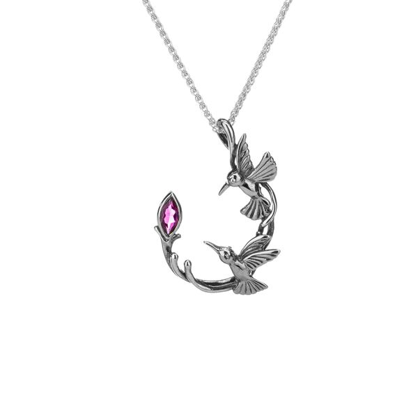 DOUBLE HUMMINGBIRD IN STERLING SILVER WITH MARQUISE RHODOLITE GARNET PENDANT Taylor's Jewellers Alliston, ON