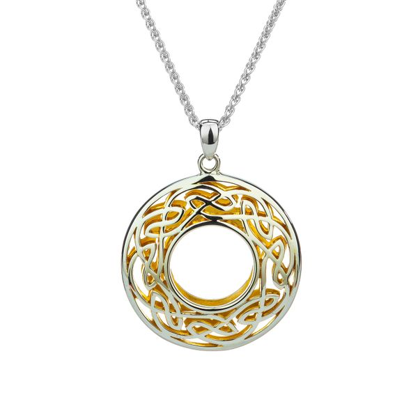 WINDOW TO THE SOUL IN STERLING SILVER & 22KT YELLOW GOLD GILDED SMALL PENDANT 20