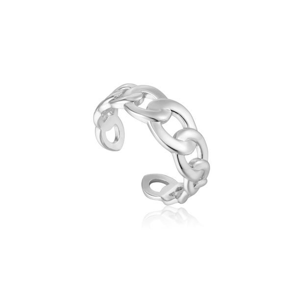 Ania Haie CURB CHAIN ADJUSTABLE RING in 925 Sterling Silver with Rhodium Plating Taylors Jewellers Alliston, ON