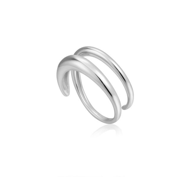 Ania Haie LUXE MINIMALIS TWIST ADJUSTABLE RING in 925 Sterling Silver with Rhodium Plating Taylors Jewellers Alliston, ON