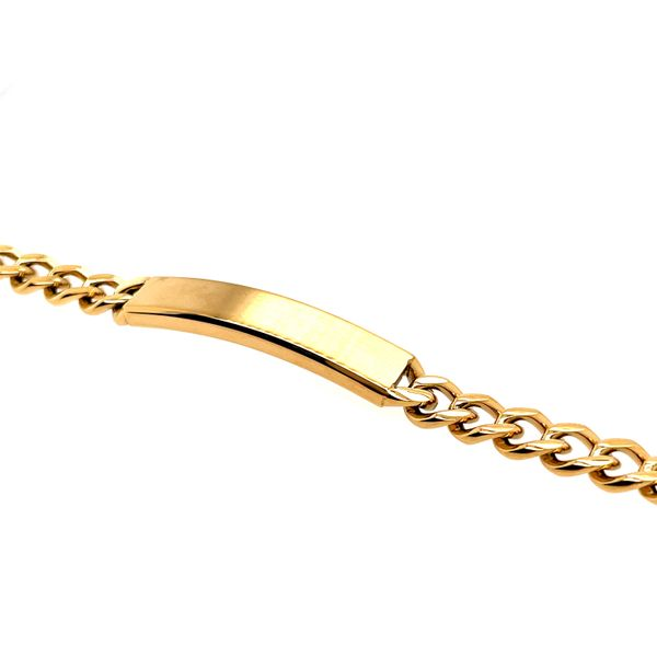 ITALGEM  GOLD-IONIZED PLATED S.STEEL CURB LINK I.D.- PLATE 7MM - 8