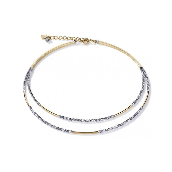 COEUR DE LION 4998-10-1617 YELLOW TONE STAINLESS STEEL NECKLACE CUT GLASS GREY Taylors Jewellers Alliston, ON