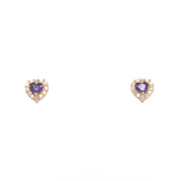 14KT YELLOW GOLD HEART WITH PINK CZ BABY EARRINGS Taylors Jewellers Alliston, ON