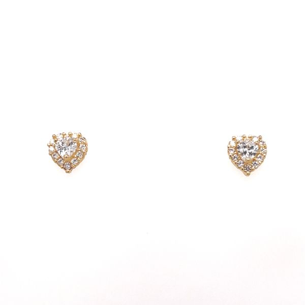 14KT YELLOW GOLD HEART WITH WHITE CZ BABY EARRINGS Taylors Jewellers Alliston, ON