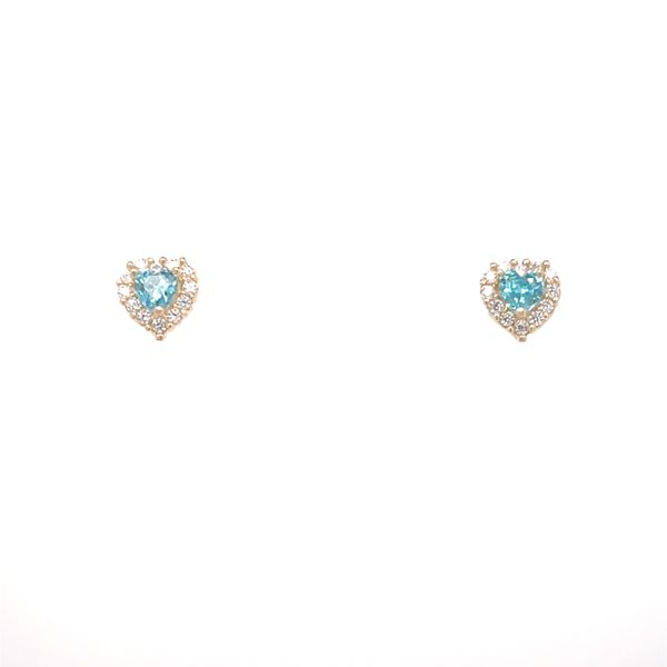 14KT YELLOW GOLD HEART WITH BLUE CZ BABY EARRINGS Taylors Jewellers Alliston, ON