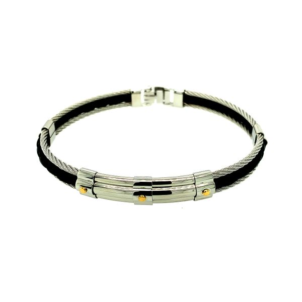 Stainless Steel Cable Mens Bracelet with Yellow Gold Plated Accents and Leather Taylor's Jewellers Alliston, ON