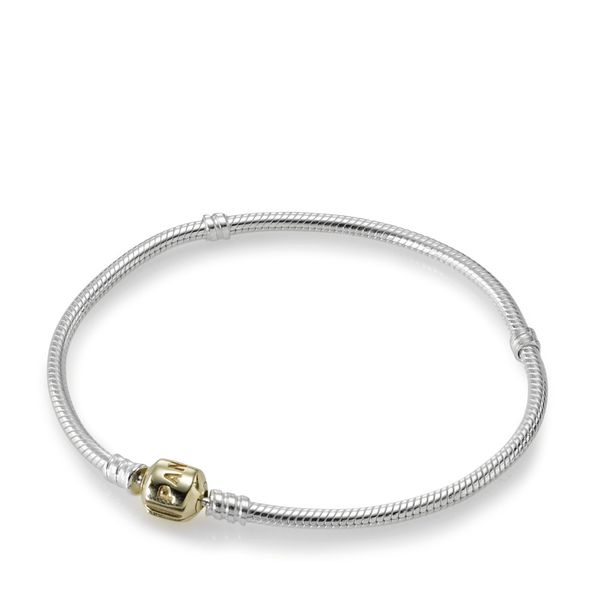 PANDORA 590702HG Sterling Silver Bracelet with 14K Gold Clasp 7.5 Taylors Jewellers Alliston, ON