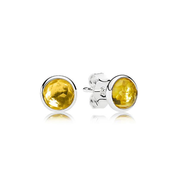PANDORA 290738CI CITRINE DROPLETS STERLING SILVER EARRING Taylors Jewellers Alliston, ON