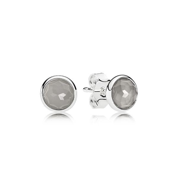 PANDORA 290738MSG GREY MOONSTONE DROPLETS STERLING SILVER EARRING Taylors Jewellers Alliston, ON