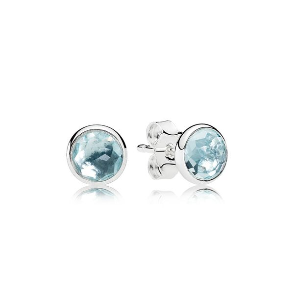 PANDORA 290738NAB AQUA BLUE CRYSTAL DROPLETS STERLING SILVER EARRING Taylors Jewellers Alliston, ON