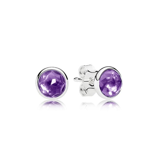 PANDORA 290738SAM SYNTHETIC AMETHYST DROPLETS STERLING SILVER EARRING Taylors Jewellers Alliston, ON